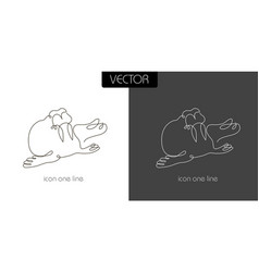 seal walrus icon on white and black vector image