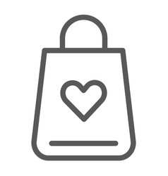 shopping bag line icon love and gift package vector image