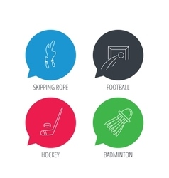Skipping rope football and ice hockey icons vector
