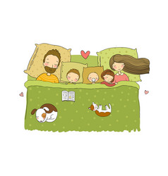 Sleeping family mom dad and children sweet vector