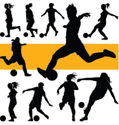 Soccer women silhouette girl play soccer vector