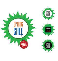 spring sale on leaves with tag icon set color vector image