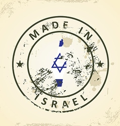 Stamp with map flag of Israel vector