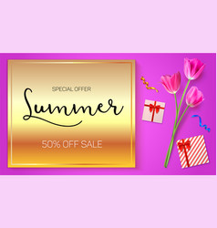 summer sale advertisement poster on a gold vector image vector image