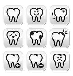 Tooth teeth buttons set vector image