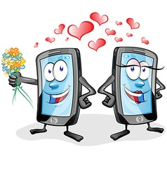 two fun mobile cartoon in love vector image