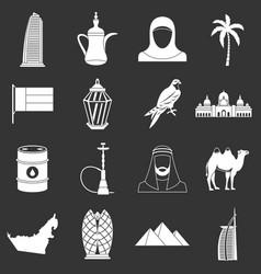 Uae travel icons set grey vector