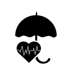 Umbrella and heart cardiogram icon vector