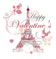 Valentines day Eiffel tower vector image