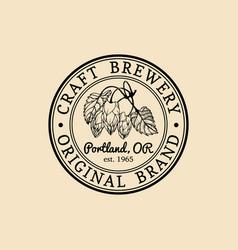 Vintage hops logo brewery herbs design vector