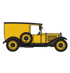 Vintage yellow van vector image