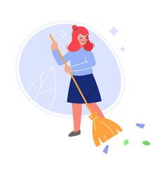Volunteer sweeping outdoor with broom girl vector