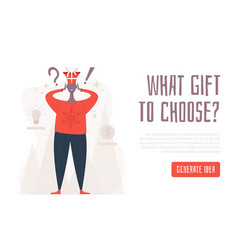 What gift to choose concept shocked man in a new vector