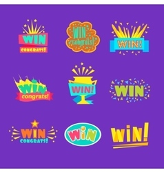 Win Congratulations Stickers Assortment Of Comic vector