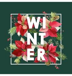 Winter Christmas Design in Winter Flowers vector