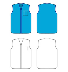 Worker waistcoat with zipper and pocket vector
