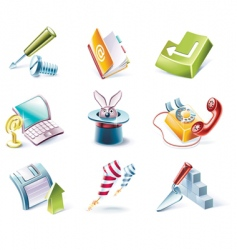 Cartoon style icon set vector
