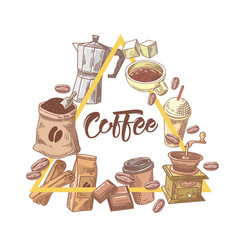 coffee hand drawn design with cup sugar vector image vector image