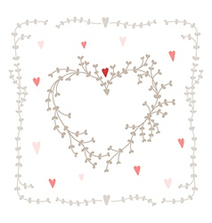 hand drawn set heart shaped wreath heart vector image vector image
