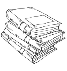 Stack of books doodle vector image vector image