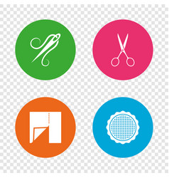 Textile cloth piece icon scissors hairdresser vector