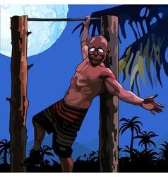 cartoon funny man hanging on a horizontal bar vector image