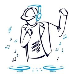 DJ mixing music vector image vector image