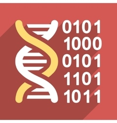 Genome Code Flat Long Shadow Square Icon vector image