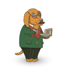 professor dog vector image vector image