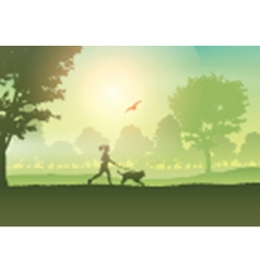 Silhouette of a female jogging with her dog in the vector image vector image