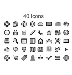 social media icons image - 40 tool pack vector image