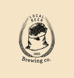 vintage malt logo brewery herbs bag design vector image