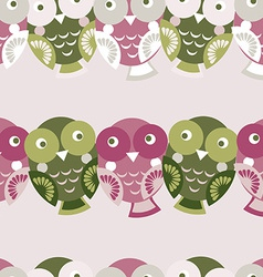 Cute colorful seamless pattern with owl Green pink vector image vector image