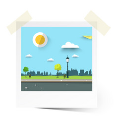 flat design empty park landscape in photo frame vector image vector image