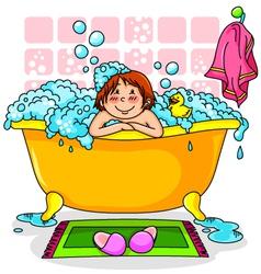 kid in the bath vector image vector image