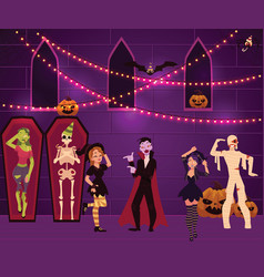 people having fun at halloween party decorated vector image