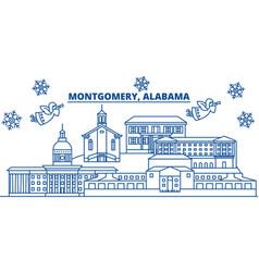 usa alabama montgomery winter city skyline vector image