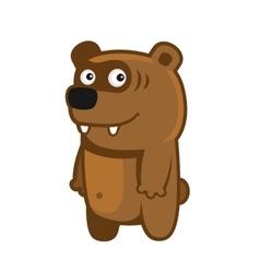 Bear Cartoon Style Funny Animal on White vector image
