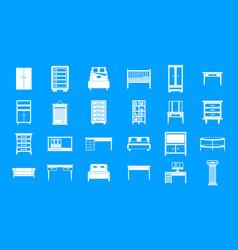 furniture icon blue set vector image