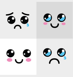 kawaii happy and sad face icon vector image vector image