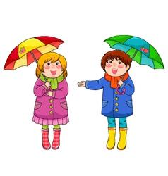 kids with umbrellas vector image