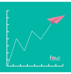 Origami pink paper plane and zigzag scale Love vector image
