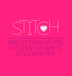stitched font alphabet vector image