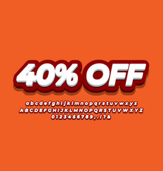 40 percent sale discount promotion text 3d dark vector