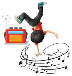 A boy dancing b-boy with musical melody symbols vector