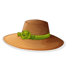 A brown hat with green ribbon vector