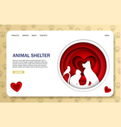 animal shelter website landing page design vector image