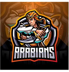 Arabians esport mascot logo design vector