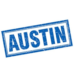 Austin blue square grunge stamp on white vector