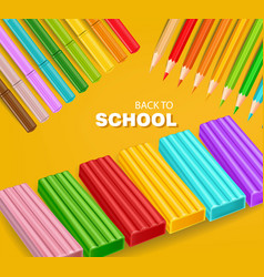 back to school card with colorful pencils and vector image